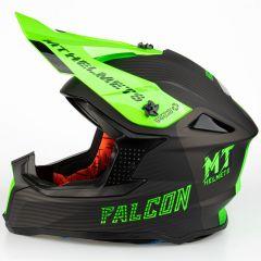 MT Falcon System D6 MX Kypärä, matta musta/fluo. vihreä