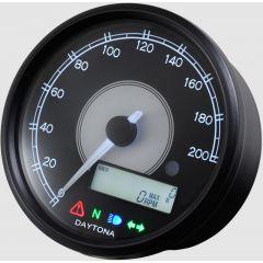 Daytona Velona 80 nopeusmittari 0-200km/h, musta